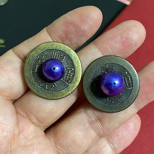 🖤Vintage Chinese coin Pearl earrings